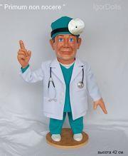 """Интерьерная коллекционная кукла доктор """" Primum non nocere"""""""
